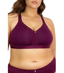 plus size women's curvy couture lace trim wireless bra, size 40h - purple