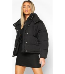 collar detail puffer jacket, black