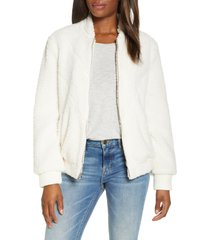 women's ugg annalise faux shearling teddy jacket, size medium - ivory