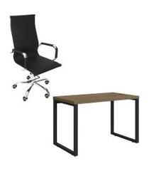 mesa escritório kappesberg 1.20m cadeira presidente trevalla tl-cde-10-1