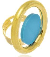anel le diamond aro vazado com acrílico azul