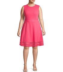 mesh-trimmed fit & flare dress