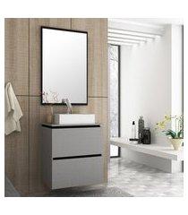 gabinete suspenso banheiro bosi urban cuba e espelheira argento/preto