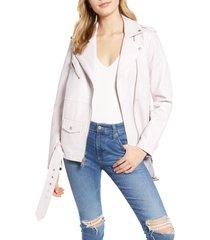 women's levi's faux leather moto jacket, size large - pink