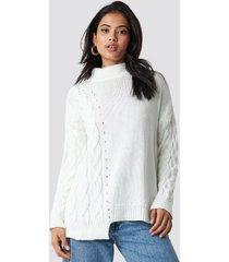 trendyol asymmetric detailed knitted sweater - white