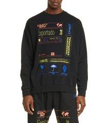 men's marcelo burlon exportado cotton sweatshirt, size medium - black