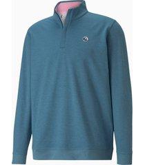 cloudspun clubhouse golftrui met kwartrits heren, blauw, maat s | puma