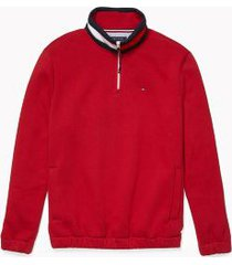 tommy hilfiger men's adaptive stripe collar quarter zip sweatshirt chili pepper - xxl