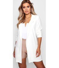 plus oversized blazer met strik, wit