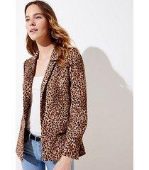 loft petite leopard print open blazer