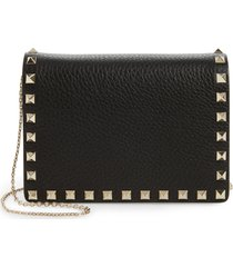 women's valentino garavani rockstud leather pouch wallet on a chain - black