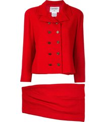 chanel pre-owned 1998 setup skirt suit - red