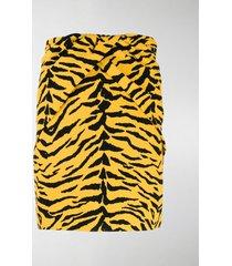 saint laurent tiger print high-rise skirt