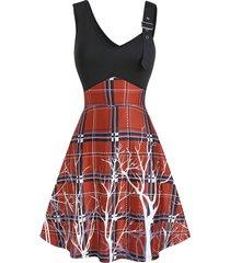 buckle strap v neck plaid high waist dress