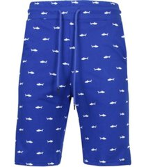 galaxy by harvic men's slim fit french terry printed shorts with contrasting shark design