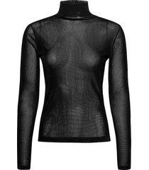 velvet tulle top.vel t-shirts & tops long-sleeved zwart helmut lang