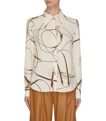 horse bridle print light crepe placket shirt