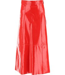 msgm ostrich-effect faux leather midi skirt