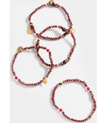 cecelia beaded bracelet set - wine