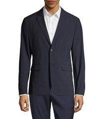 theory men's clinton function seersucker textured blazer - eclipse navy - size 36 r
