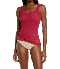 hanky panky signature lace camisole, size x-large in cranberry at nordstrom
