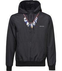 marcelo burlon feathers nylon padded hoodie