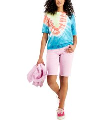 style & co tie-dyed lightweight short-sleeve sweatshirt, created for macy's