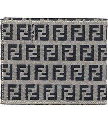 fendi pre-owned zucca pattern bifold purse wallet - grey