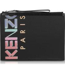 kenzo sport animation black nylon large pouch
