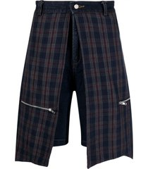 youths in balaclava checked panelled denim shorts