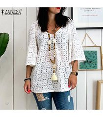 zanzea mujer ata cuello en v manga 3/4 ahueca hacia fuera las tapas flojas ocasionales camisas blusas -blanco
