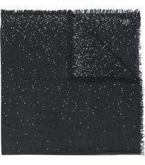 faliero sarti frayed-hem embroidered scarf - black