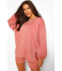 oversized sweater met zijsplit, blush