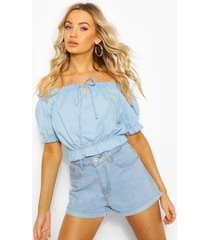 chambray off the shoulder top, light blue