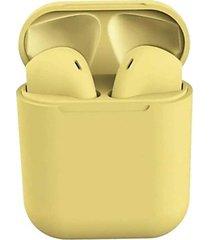 audifonos stereo bluetooth inalambricos recargables i12 amarillo