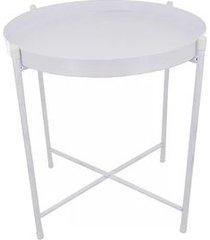 mesa lateral le bandeja 38x43cm metal branca