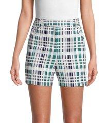 bcbgmaxazria women's plaid shorts - white green combo - size 14