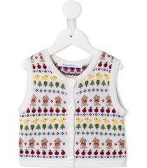 familiar sleeveless button up cardigan - multicolour