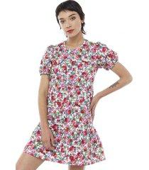 vestido corto manga globo cuello fucsia flores mujer corona