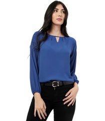 blusa azul manga larga lec lee