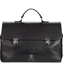 gunmetal tone-logo leather briefcase
