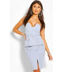 buckle detail strapless top, blue