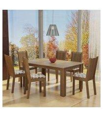 conjunto sala de jantar madesa analu mesa tampo de madeira com 6 cadeiras rustic/floral hibiscos