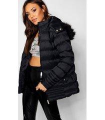 gewatteerde jas met stiksels en faux fur zoom, zwart