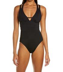 women's becca color code one-piece swimsuit, size medium - black