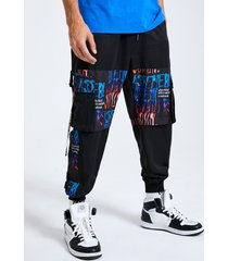 cintura con cordón y estampado de letras para hombre carga pantalones