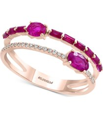 effy certified ruby (7/8 ct. t.w.) & diamond accent two-row ring in 14k rose gold