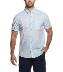 men's short sleeve linen floral print shirt