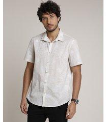 camisa masculina relaxed estampada floral manga curta kaki claro