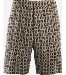 fendi gabardine bermuda shorts with all-over ff motif